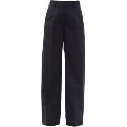 Mm6 Maison Margiela - High-rise Pinstriped Straight-leg Trousers - Womens - Navy Stripe found on Bargain Bro UK from Matches UK