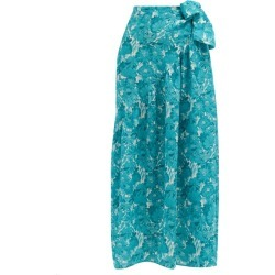 Adriana Degreas - Floral-print Silk-crepe Wrap Skirt - Womens - Blue Print found on MODAPINS from MATCHESFASHION.COM - AU for USD $396.82