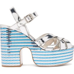 Miu Miu - Crystal-embellished Leather Platform Sandals - Womens - Silver found on Bargain Bro UK from Matches UK