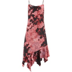 Marques'almeida - Asymmetric-hem Tie-dye Satin Midi Dress - Womens - Black Pink found on MODAPINS from Matches Global for USD $196.00