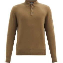 Allude - Cashmere Long-sleeved Polo Shirt - Mens - Khaki found on MODAPINS from MATCHESFASHION.COM - AU for USD $454.12