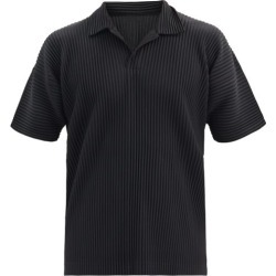 Homme Plissé Issey Miyake - Technical-pleated Polo Shirt - Mens - Black found on MODAPINS from Matches Global for USD $216.00