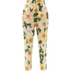 Dolce & Gabbana - Camellia-print Cotton Tapered-leg Trousers - Womens - Yellow Print found on Bargain Bro UK from Matches UK