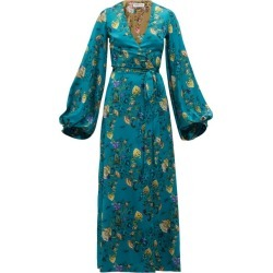 Adriana Iglesias - Floral-printed Silk-blend Wrap Dress - Womens - Blue Multi found on MODAPINS from Matches Global for USD $565.00