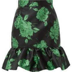 MSGM - Floral-jacquard Ruffle-hem Mini Skirt - Womens - Black Multi found on Bargain Bro UK from Matches UK