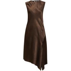Ann Demeulemeester - Asymmetric Bias-cut Hammered Satin Midi Dress - Womens - Brown found on MODAPINS from MATCHESFASHION.COM - AU for USD $844.67