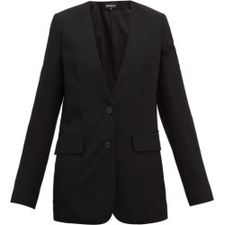 Ann Demeulemeester - Collarless Single-breasted Wool-twill Blazer - Womens - Black found on MODAPINS from MATCHESFASHION.COM - AU for USD $497.30