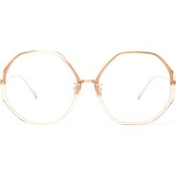 Linda Farrow - Oversized Hexagonal Titanium Glasses - Womens - White Gold found on MODAPINS from Matches UK for USD $643.17