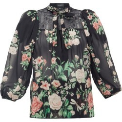 Giambattista Valli - Neck-tie Floral-print Silk-georgette Blouse - Womens - Black Multi found on MODAPINS from Matches Global for USD $912.00