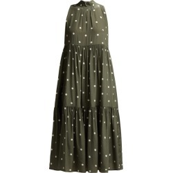 Asceno - Polka Dot Silk Crepe Tiered Midi Dress - Womens - Khaki Print found on MODAPINS from MATCHESFASHION.COM - AU for USD $485.53