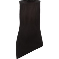 Maison Margiela - Asymmetric Rib-knitted Cotton-blend Top - Womens - Black found on Bargain Bro UK from Matches UK