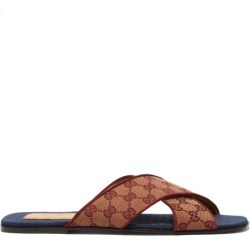 Gucci - GG Cross-strap Canvas Slides - Mens - Brown found on Bargain Bro UK from Matches UK