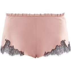 Carine Gilson - Chantilly-lace And Silk-satin Shorts - Womens - Light Brown found on MODAPINS from Matches Global for USD $373.00