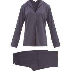 Skin - Ondrea Satin-piped Pima-cotton Pyjamas - Womens - Navy found on Bargain Bro India from Matches Global for $198.00