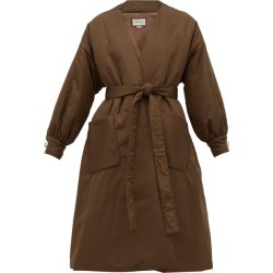Gucci - Belted Padded Silk-satin Coat - Womens - Brown