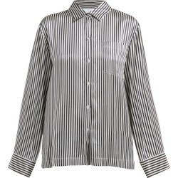 Asceno - Striped Sandwashed Silk Satin Pyjama Shirt - Womens - Black Stripe found on MODAPINS from Matches UK for USD $287.32