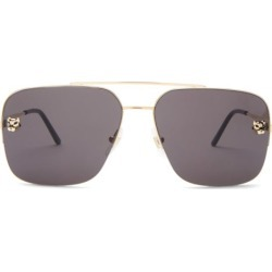 Cartier Eyewear - Panthère Aviator Metal Sunglasses - Mens - Gold found on MODAPINS from Matches Global for USD $945.00