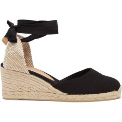 Castañer - Carina 60 Canvas & Jute Espadrille Wedges - Womens - Black found on MODAPINS from Matches Global for USD $135.00