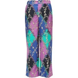 Gucci - Rhombus And Gg-print Silk-satin Trousers - Womens - Purple Multi found on Bargain Bro India from Matches Global for $1400.00