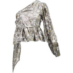Ganni - Metallic Floral-print One-shoulder Blouse - Womens - Silver found on MODAPINS from Matches Global for USD $84.00