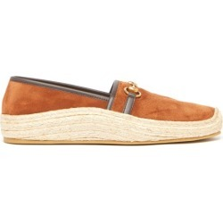 Gucci - Horsebit Suede And Raffia Espadrille Loafers - Mens - Tan found on Bargain Bro UK from Matches UK