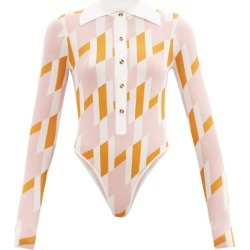 Dodo Bar Or - Carina Geometric-print Bodysuit - Womens - Pink Multi found on Bargain Bro UK from Matches UK