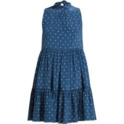 Asceno - Polka Dot Print Tie Neck Silk Dress - Womens - Navy found on MODAPINS from MATCHESFASHION.COM - AU for USD $390.63