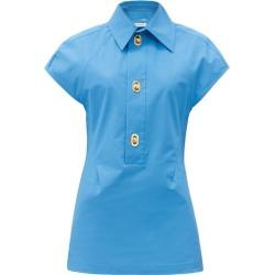 Bottega Veneta - Buttoned Coated-canvas Shirt - Womens - Blue found on Bargain Bro UK from Matches UK