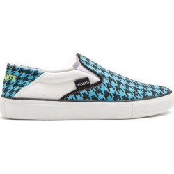 Vetements - Houndstooth-print Slip-on Trainers - Womens - Blue found on MODAPINS from Matches Global for USD $252.00