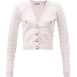 Alessandra Rich - Pearl-button Check Cardigan - Womens - Light Pink found on MODAPINS from Matches UK for USD $968.26