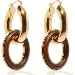 Jil Sander - Eclipse Wood-insert Double-hoop Earrings - Womens - Brown Gold found on Bargain Bro UK from Matches UK