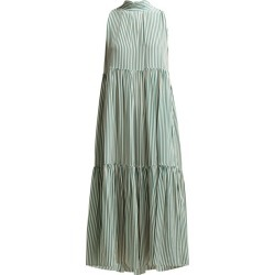 Asceno - Striped Neck Tie Tiered Silk Midi Dress - Womens - Khaki Stripe found on MODAPINS from MATCHESFASHION.COM - AU for USD $485.53