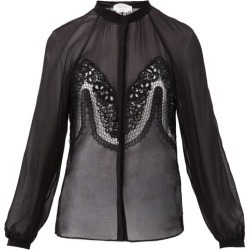 Gabriela Hearst - Gia Lace-trimmed Silk-georgette Blouse - Womens - Black found on MODAPINS from Matches Global for USD $2060.00