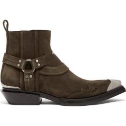 Balenciaga - Santiag Harness Suede Western Boots - Mens - Brown
