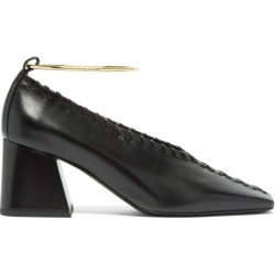 Jil Sander - Whipstitched Square-toe Leather Pumps - Womens - Black found on Bargain Bro UK from Matches UK
