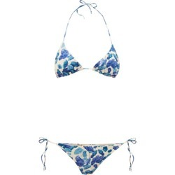 Adriana Degreas - Floral-print Triangle Bikini - Womens - Blue Print found on MODAPINS from Matches Global for USD $117.00