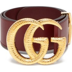 Gucci - GG Snakeskin-effect Logo Wide Leather Belt - Womens - Burgundy found on Bargain Bro India from Matches Global for $651.00