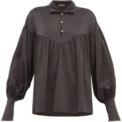Lee Mathews - Mae Balloon-sleeve Silk-satin Blouse - Womens - Black found on MODAPINS from Matches Global for USD $170.00