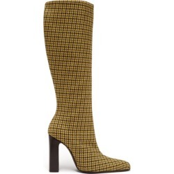 Balenciaga - Houndstooth-check Tweed Boots - Womens - Yellow Multi