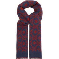 Gucci - GG Logo-intarsia Wool-blend Scarf - Mens - Blue found on Bargain Bro UK from Matches UK