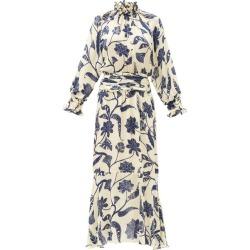 Johanna Ortiz - Sacred Writing Floral-print Silk Midi Dress - Womens - Blue White found on MODAPINS from MATCHESFASHION.COM - AU for USD $1746.35