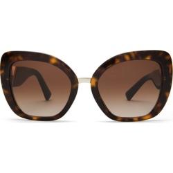 Valentino - V Plaque Oversized Square Acetate Sunglasses - Womens - Tortoiseshell