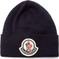 Moncler - Logo-patch Wool-jersey Beanie Hat - Mens - Navy found on Bargain Bro UK from Matches UK