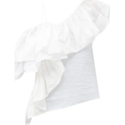 Marques'almeida - One-shoulder Ruffled Upcycled-seersucker Top - Womens - White found on MODAPINS from MATCHESFASHION.COM - AU for USD $216.86