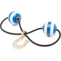 Miu Miu - Crystal-horseshoe Striped-bauble Hair Tie - Womens - Blue Stripe found on Bargain Bro UK from Matches UK