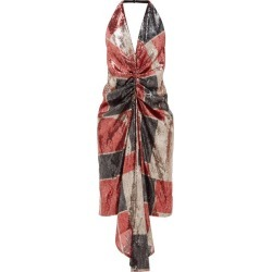 Halpern - Geometric Ruched Sequinned Halterneck Dress - Womens - Red Print found on MODAPINS from Matches Global for USD $675.00