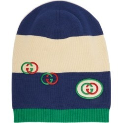 Gucci - Stripe-intarsia Cotton Beanie Hat - Mens - Navy Multi found on Bargain Bro UK from Matches UK
