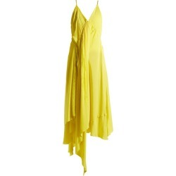 Balenciaga - Round-neck Draped Silk-crepe Dress - Womens - Light Yellow found on Bargain Bro India from Matches Global for $590.00