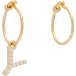 Theodora Warre - Mismatched Y-charm Gold-plated Hoop Earrings - Womens - Gold found on Bargain Bro from Matches UK for £51