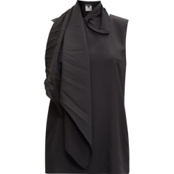 Ann Demeulemeester - Scarf-neck Silk-satin Top - Womens - Black found on MODAPINS from Matches Global for USD $460.00